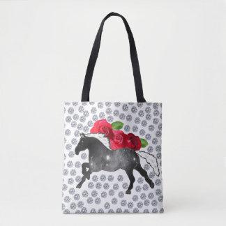 BRIGHT DIAMONDS RED ROSES UNIVERSE HORSE DESIGNER TOTE BAG