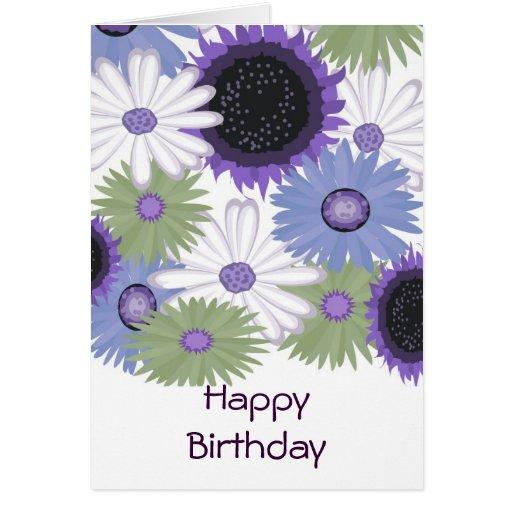 Bright Digital Flowers Happy Birthday Card