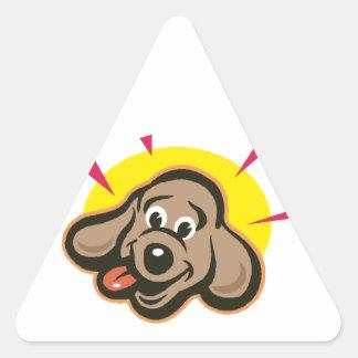 Bright dog face cartoon triangle sticker