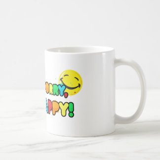 bright don't worry be happy smiley face design coffee mug