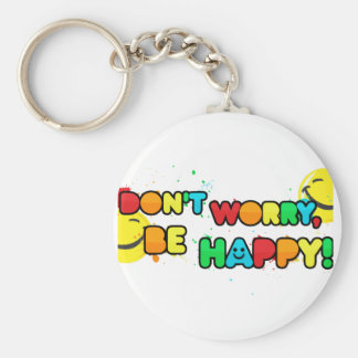 bright don't worry be happy smiley face design keychain