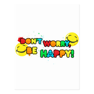 bright don't worry be happy smiley face design postcard