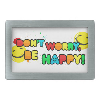 bright don't worry be happy smiley face design rectangular belt buckle