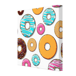 Bright Donut Whimsical Pattern Canvas Print