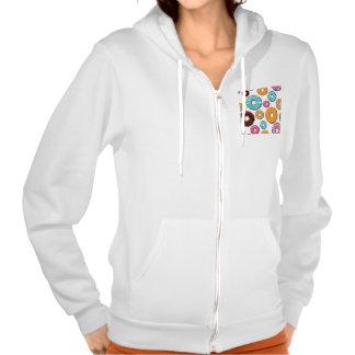 Bright Donut Whimsical Pattern Hooded Sweatshirt