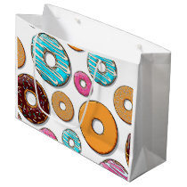Bright Donut Whimsical Pattern Large Gift Bag