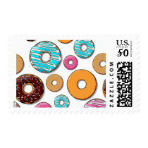 Bright Donut Whimsical Pattern Postage