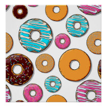 Bright Donut Whimsical Pattern Poster