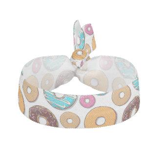 Bright Donut Whimsical Pattern Ribbon Hair Tie