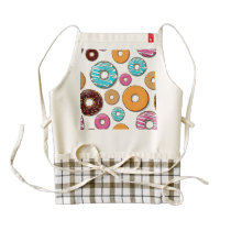 Bright Donuts Whimsical Pattern Zazzle HEART Apron