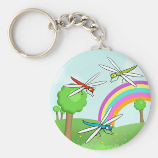Bright Dragonflies in a Colorful Fields Scene Basic Round Button Keychain