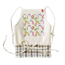 Bright Drawn Letters with Patterns Zazzle HEART Apron