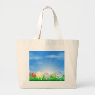 Bright Easter eggs background Canvas Bag