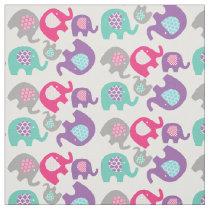 Bright Elephants on White Fabric