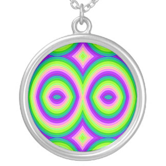 Bright Enough For You? Brightly Colored Abstract Round Pendant Necklace