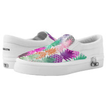 Bright exotic pineapples pastel watercolor Slip-On sneakers