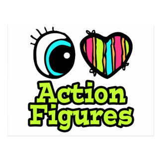 Bright Eye Heart I Love Action Figures Postcard
