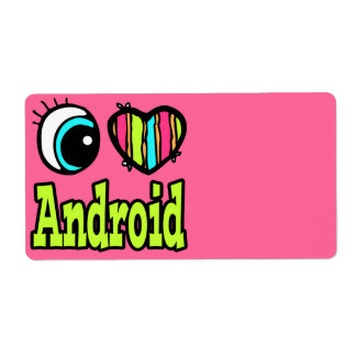 Bright Eye Heart I Love Android Shipping Labels