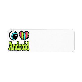 Bright Eye Heart I Love Android Custom Return Address Label