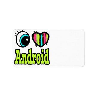 Bright Eye Heart I Love Android Custom Address Label
