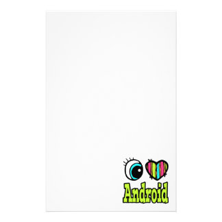 Bright Eye Heart I Love Android Personalized Stationery