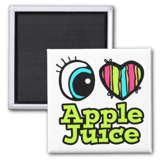 Bright Eye Heart I Love Apple Juice 2 Inch Square Magnet