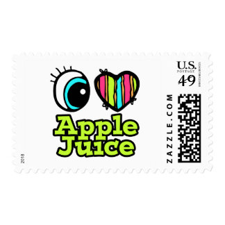 Bright Eye Heart I Love Apple Juice Postage Stamps