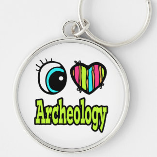 Bright Eye Heart I Love Archeology Silver-Colored Round Keychain