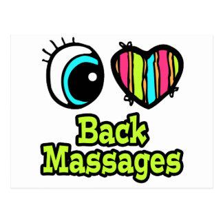 Bright Eye Heart I Love Back Massages Postcard