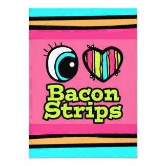 Bright Eye Heart I Love Bacon Strips 4.5x6.25 Paper Invitation Card
