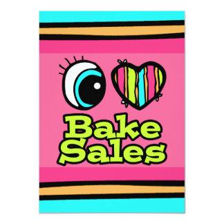 Bright Eye Heart I Love Bake Sales 4.5x6.25 Paper Invitation Card