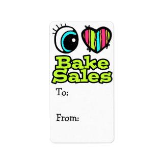 Bright Eye Heart I Love Bake Sales Label