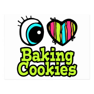 Bright Eye Heart I Love Baking Cookies Postcard