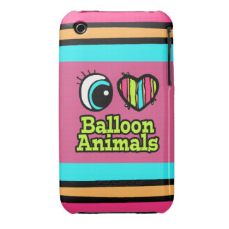 Bright Eye Heart I Love Balloon Animals iPhone 3 Cover