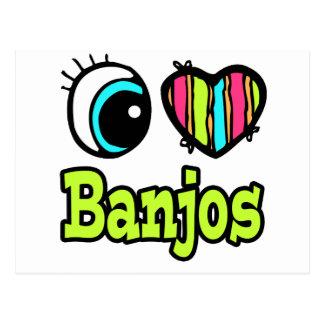 Bright Eye Heart I Love Banjos Postcard