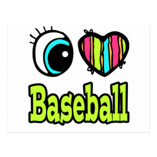 Bright Eye Heart I Love Baseball Postcard