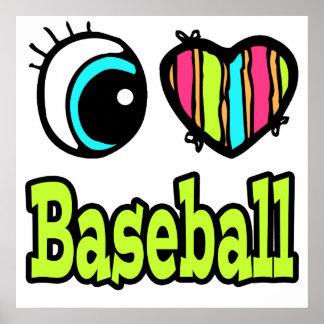 Bright Eye Heart I Love Baseball Print