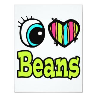 Bright Eye Heart I Love Beans 4.25x5.5 Paper Invitation Card