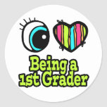 Bright Eye Heart I Love Being a 1st Grader Classic Round Sticker