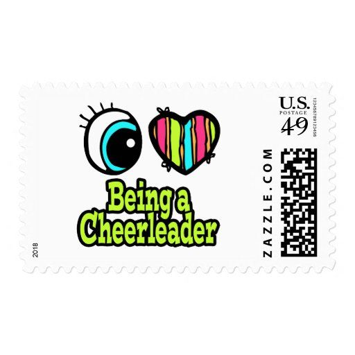 Bright Eye Heart I Love Being a Cheerleader Postage Stamp