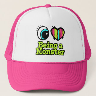 Bright Eye Heart I Love Being a Monster Trucker Hat