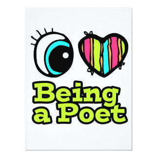 Bright Eye Heart I Love Being a Poet 6.5x8.75 Paper Invitation Card