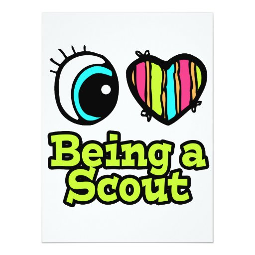 """Bright Eye Heart I Love Being a Scout 6.5"""" X 8.75"""" Invitation Card"""