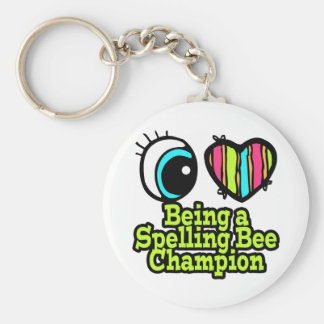 Bright Eye Heart I Love Being a Spelling Bee Champ Basic Round Button Keychain