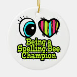Bright Eye Heart I Love Being a Spelling Bee Champ Double-Sided Ceramic Round Christmas Ornament