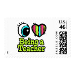 Bright Eye Heart I Love Being a Teacher Postage Stamp