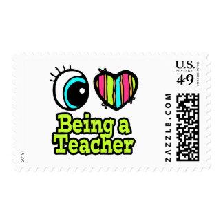 Bright Eye Heart I Love Being a Teacher Postage Stamp