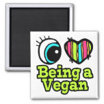 Bright Eye Heart I Love Being a Vegan 2 Inch Square Magnet