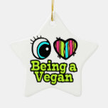 Bright Eye Heart I Love Being a Vegan Christmas Tree Ornaments