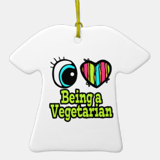 Bright Eye Heart I Love Being a Vegetarian Double-Sided T-Shirt Ceramic Christmas Ornament